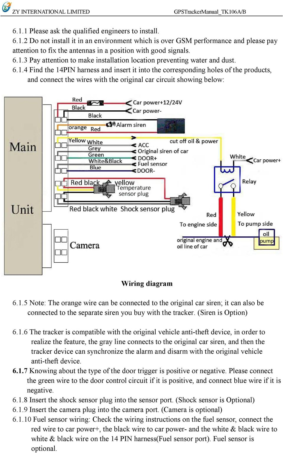 1.5 Note: The orange wire can be connected to the original car siren; it