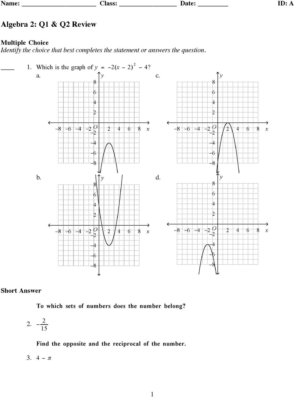 Algebra 2: Q1 & Q2 Review - PDF