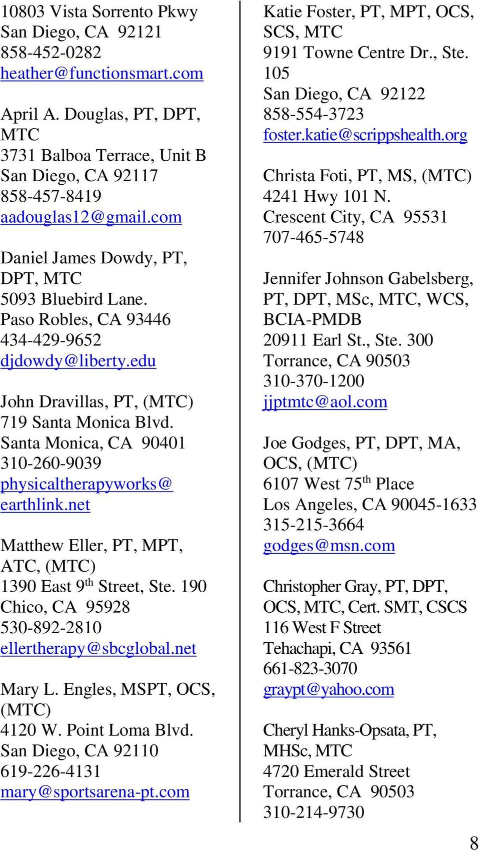 Institute of Physical Therapy  Certification List - PDF