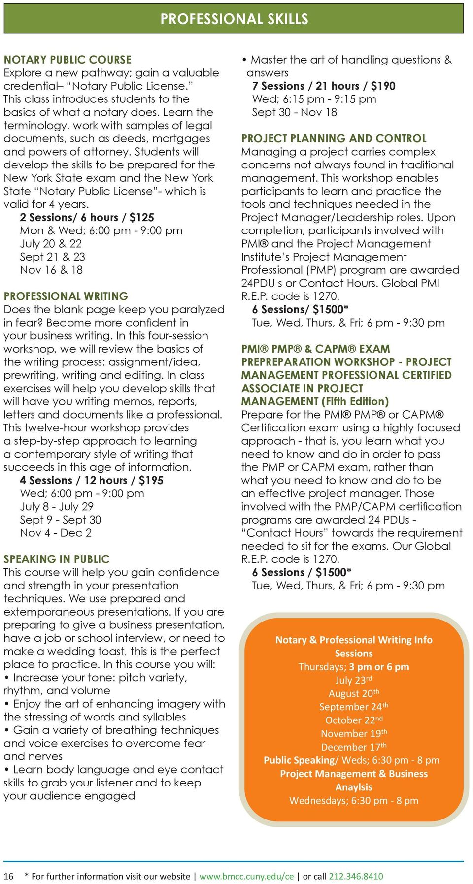 Summer/Fall 2015 Course Catalogue 25 Broadway, 8th Floor Center for ...
