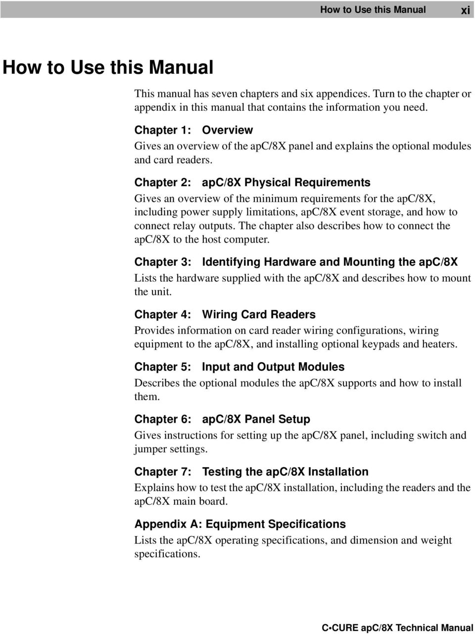 Apc 8x Technical Manual Pdf Istar Panel Wiring Diagram Chapter 2 Physical Requirements Gives An Overview Of The Minimum For