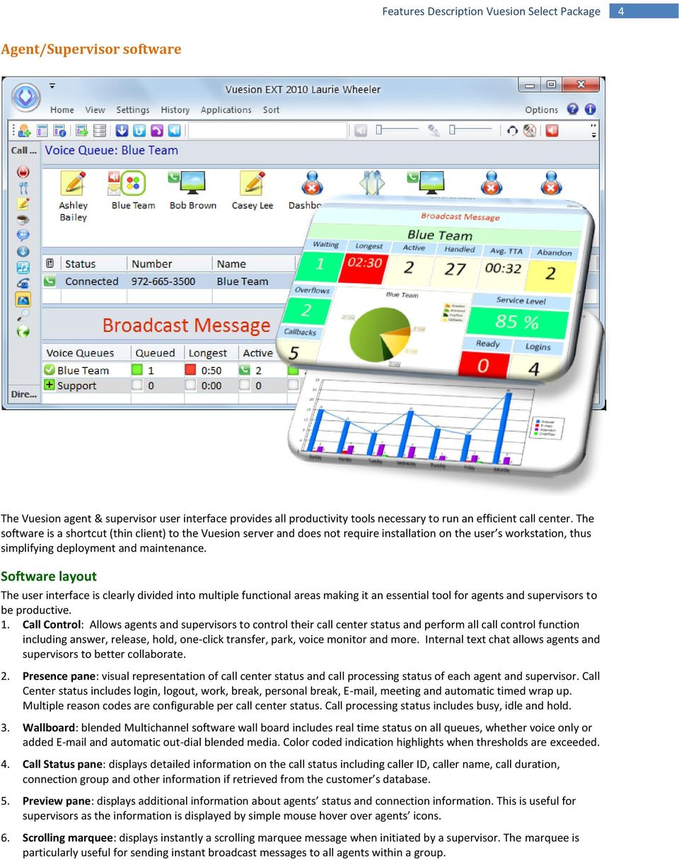 Software layout The user interface is clearly divided into multiple functional areas making it an essential tool for agents and supervisors to be productive. 1.