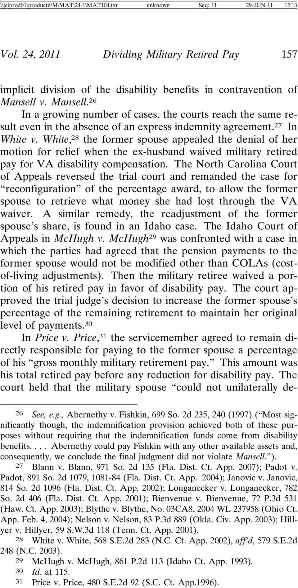 Dividing Military Retired Pay: Disability Payments and the Puzzle of