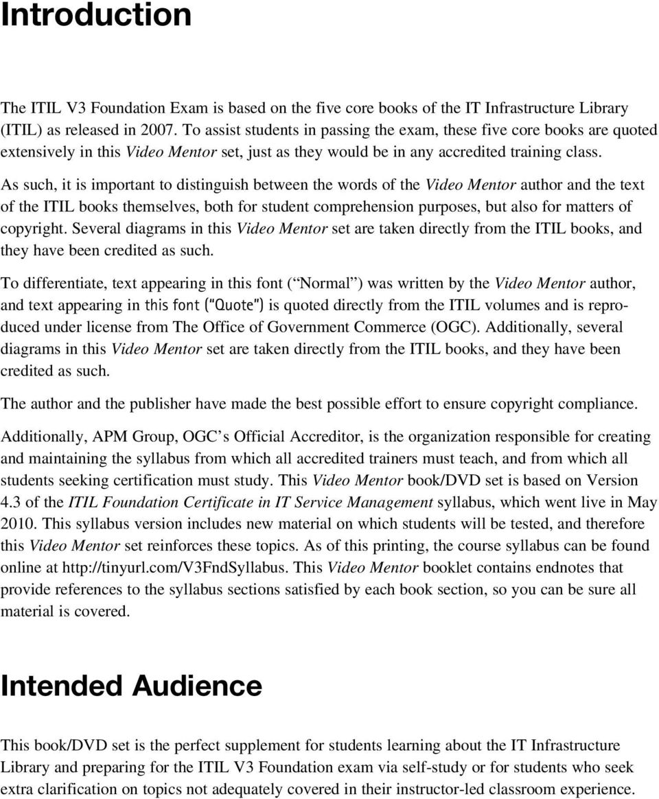 Itil v3 foundation exam video mentor jill knapp pdf as such it is important to distinguish between the words of the video mentor author fandeluxe Choice Image