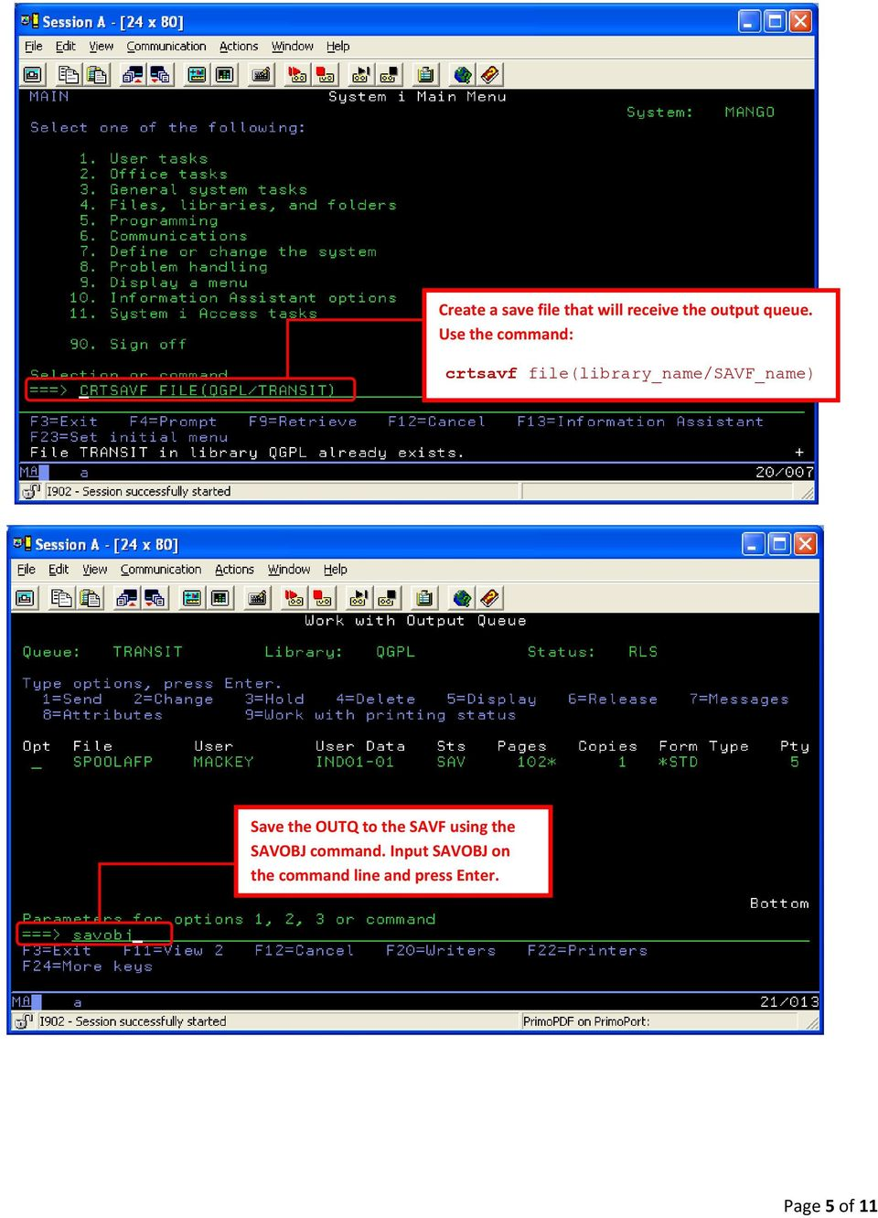 How to export a spool file from an AS/400 and export to a Windows PC