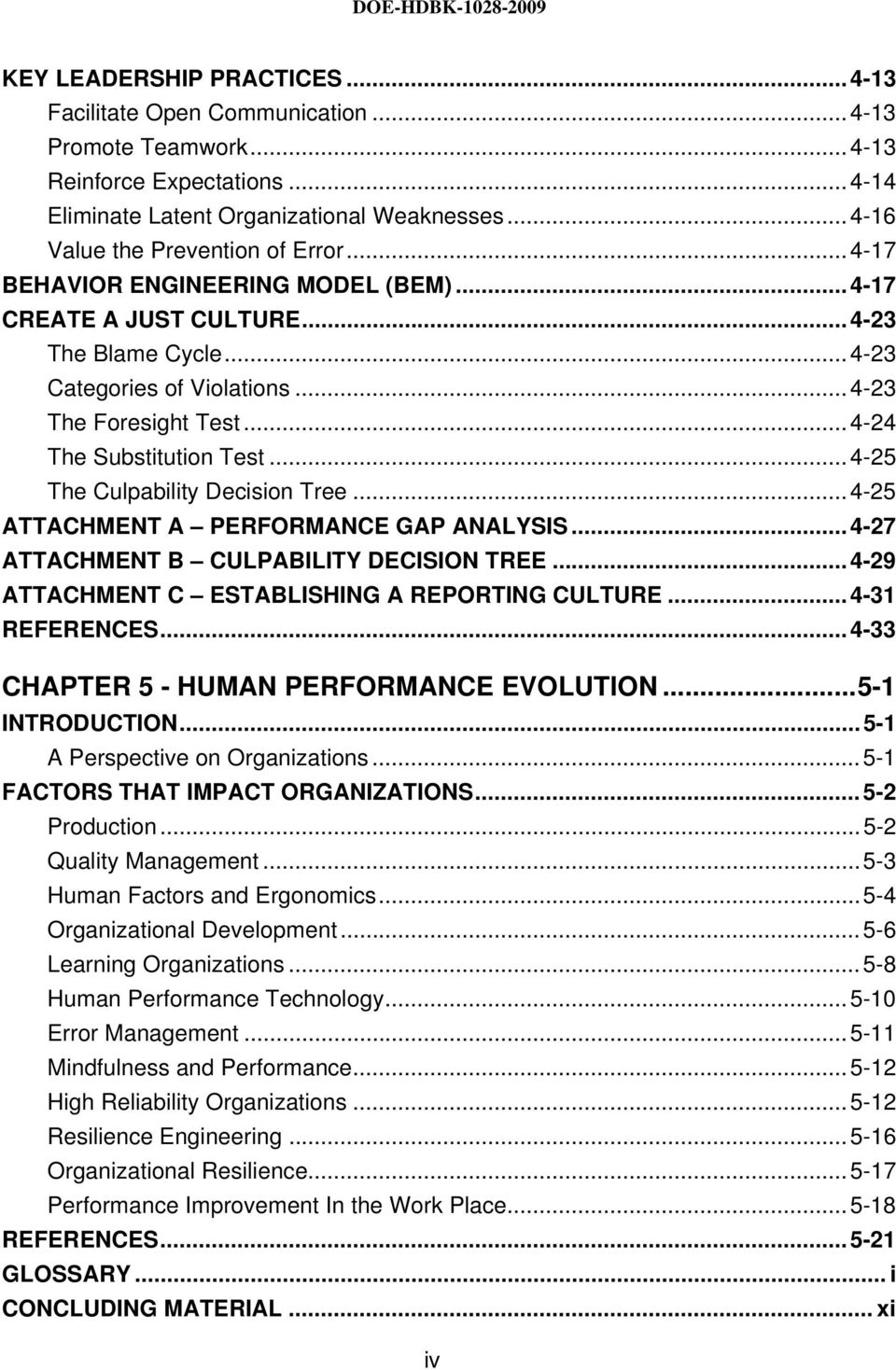 ..4-24 The Substitution Test...4-25 The Culpability. 7 DOE-HDBK PREFACE  This Human Performance Improvement Handbook is a reference ...