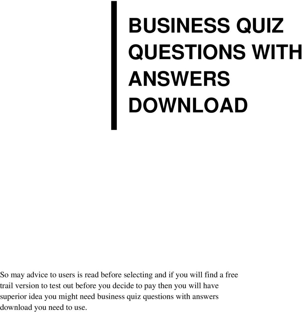 Business Quiz Pdf