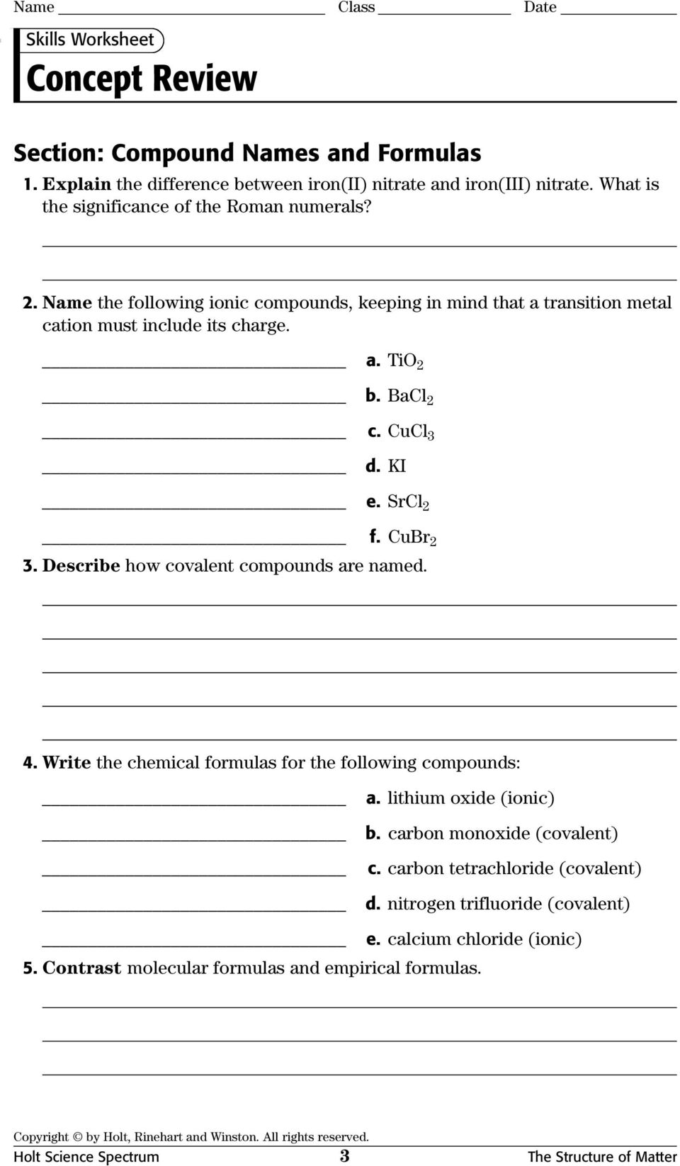 Physical Science Concept Review Worksheets With Answer Keys Pdf