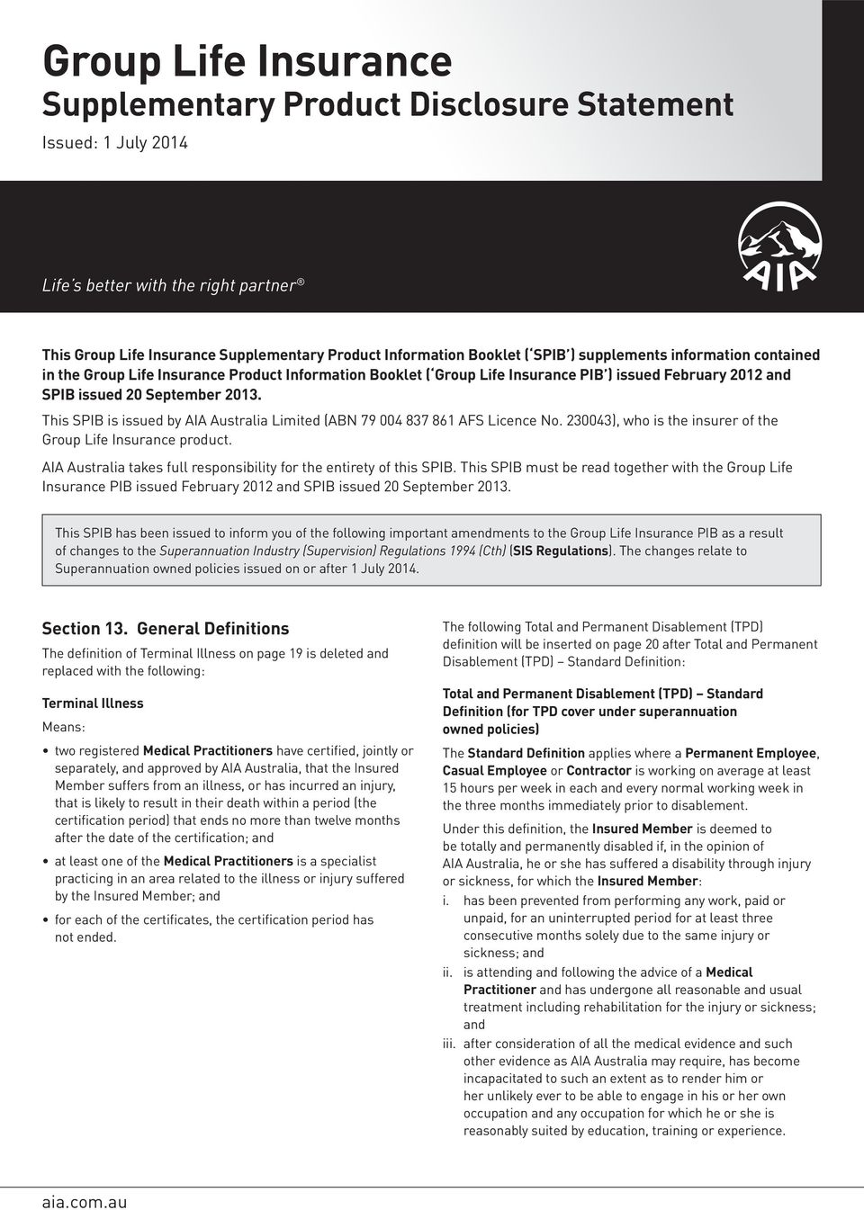 group life insurance supplementary product disclosure statement - pdf