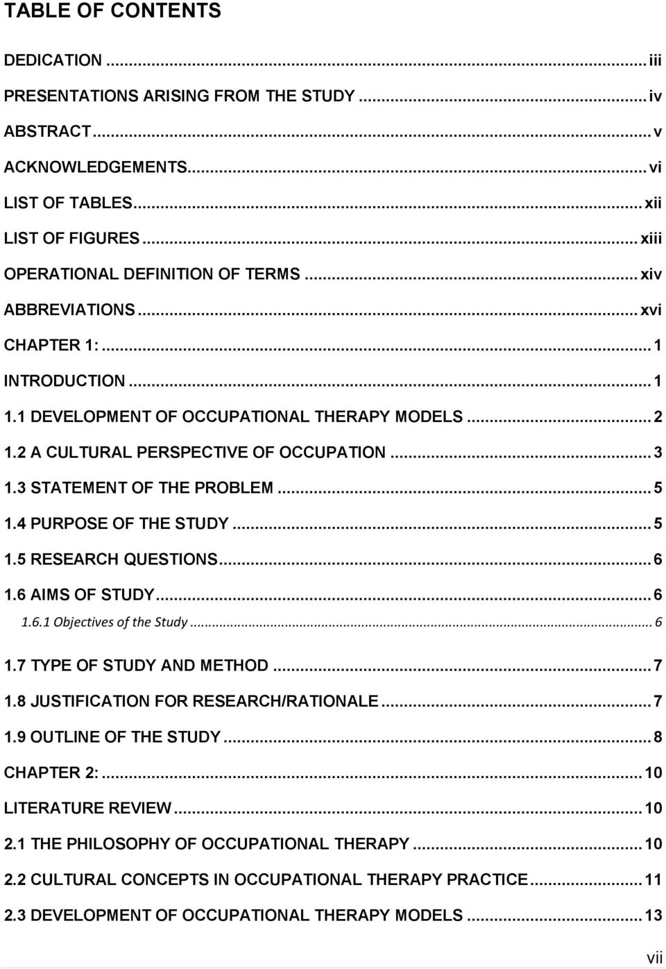 occupational therapy research questions