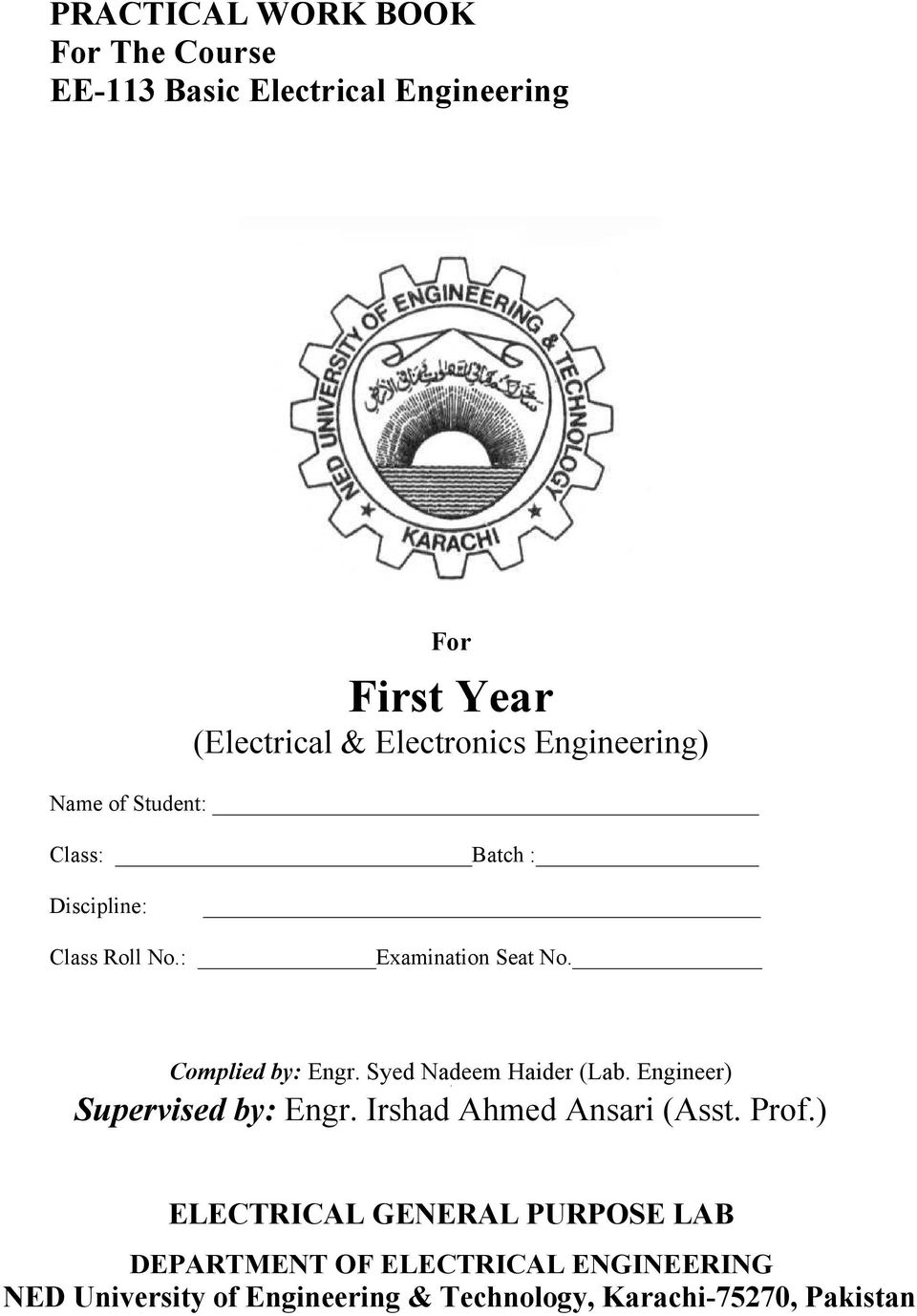 First Year Electrical Electronics Engineering Pdf Circuit Schematic Symbols Lessons In Electric Circuits Volume V Complied By Engr Syed Nadeem Haider Lab Engineer Supervised