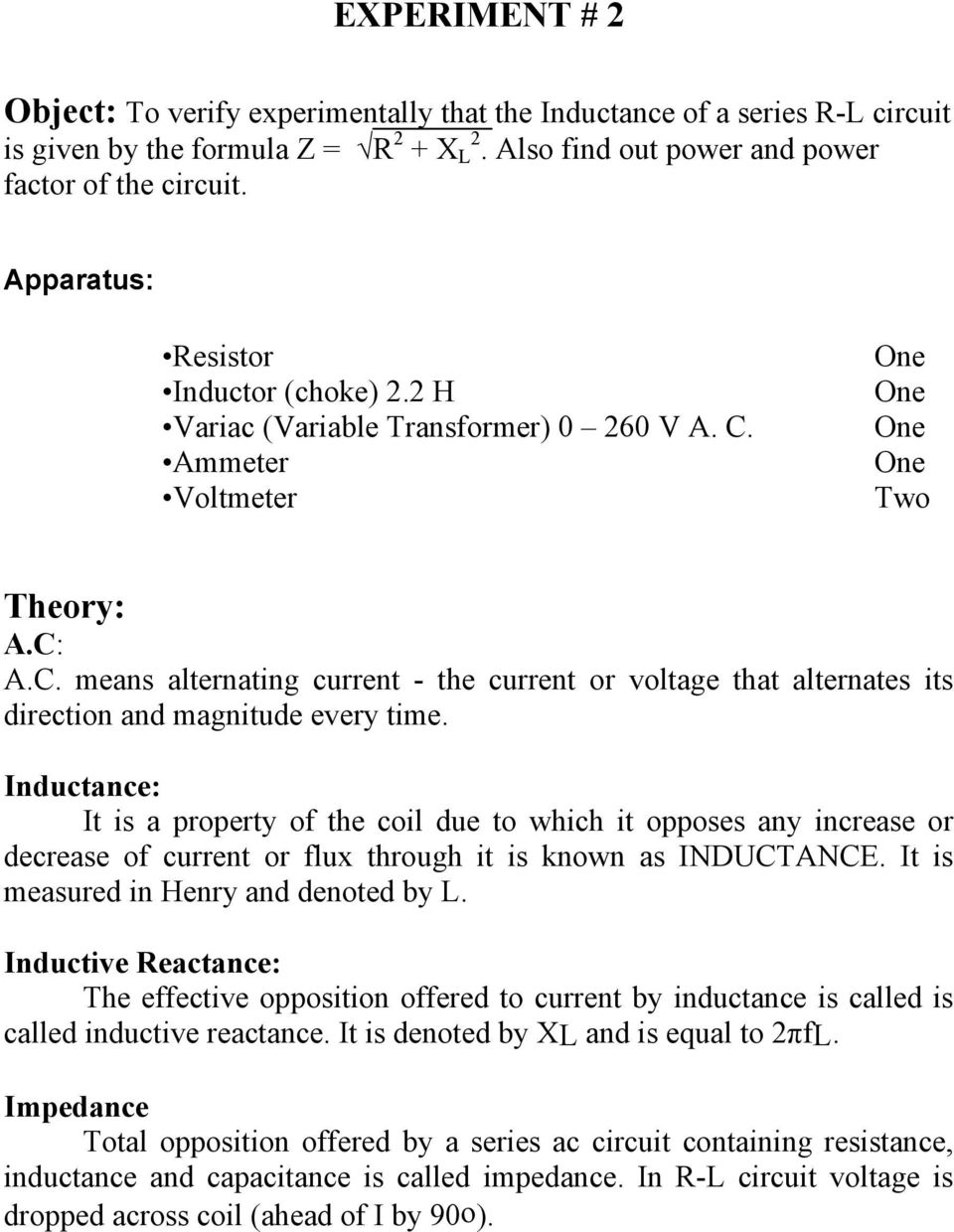 First Year Electrical Electronics Engineering Pdf At An Example Of Inductorresistance Circuit Rl Inductance It Is A Property The Coil Due To Which Opposes Any Increase