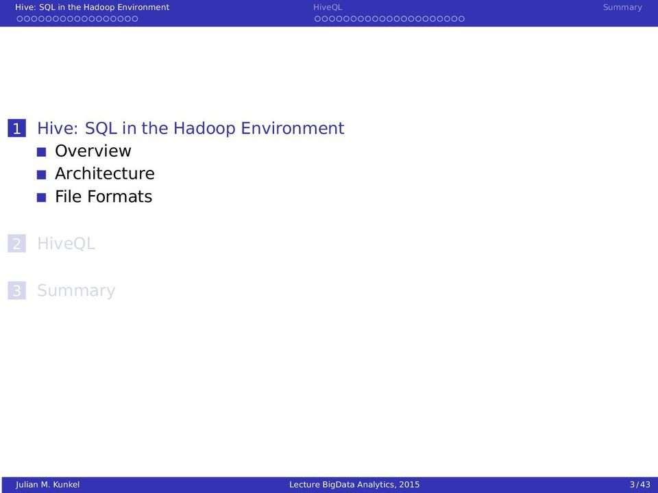 Hive: SQL in the Hadoop Environment - PDF