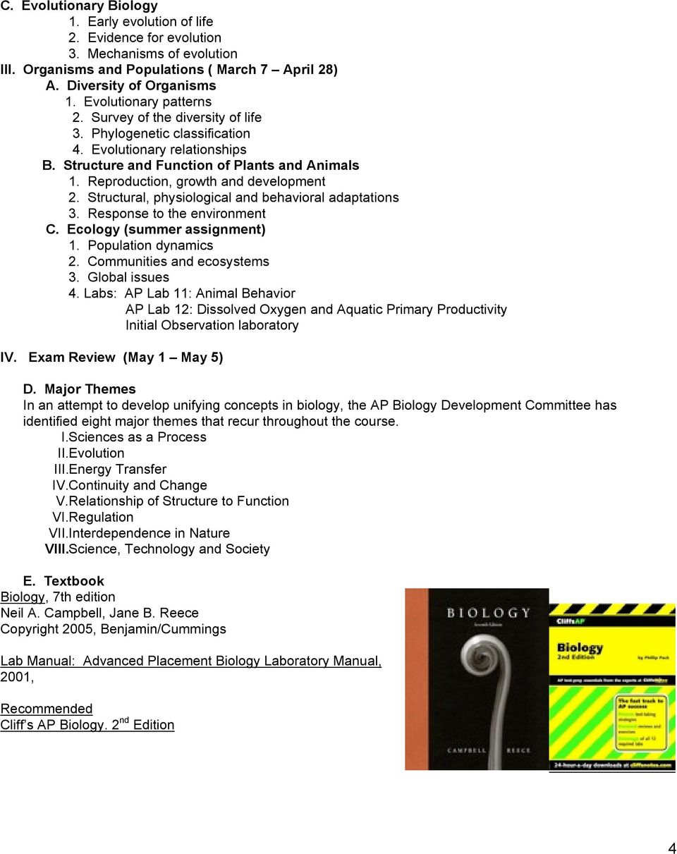 Ap biology student handbook pdf reproduction growth and development 2 structural physiological and behavioral adaptations 3 response fandeluxe Choice Image