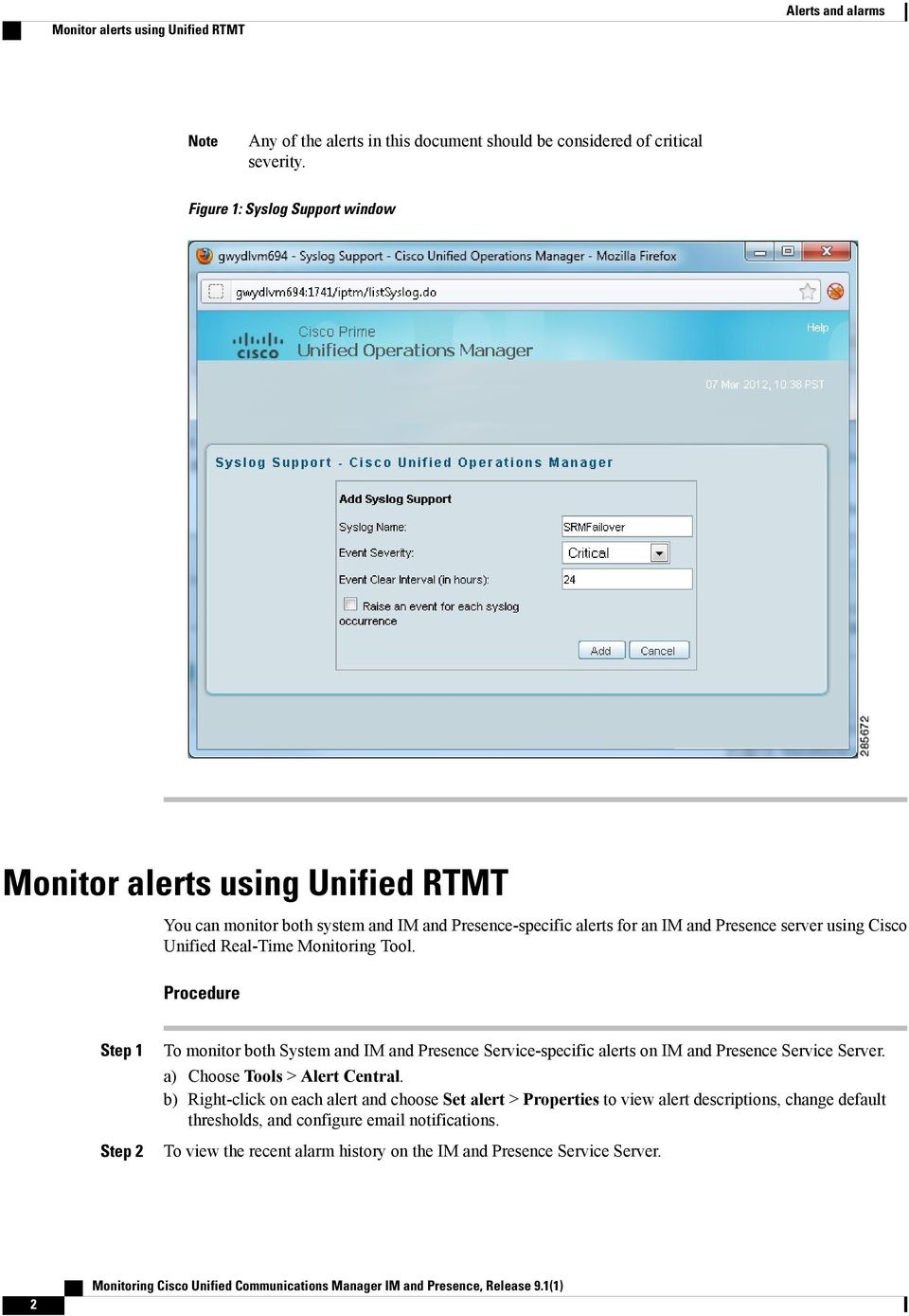 Monitoring Cisco Unified Communications Manager IM and Presence