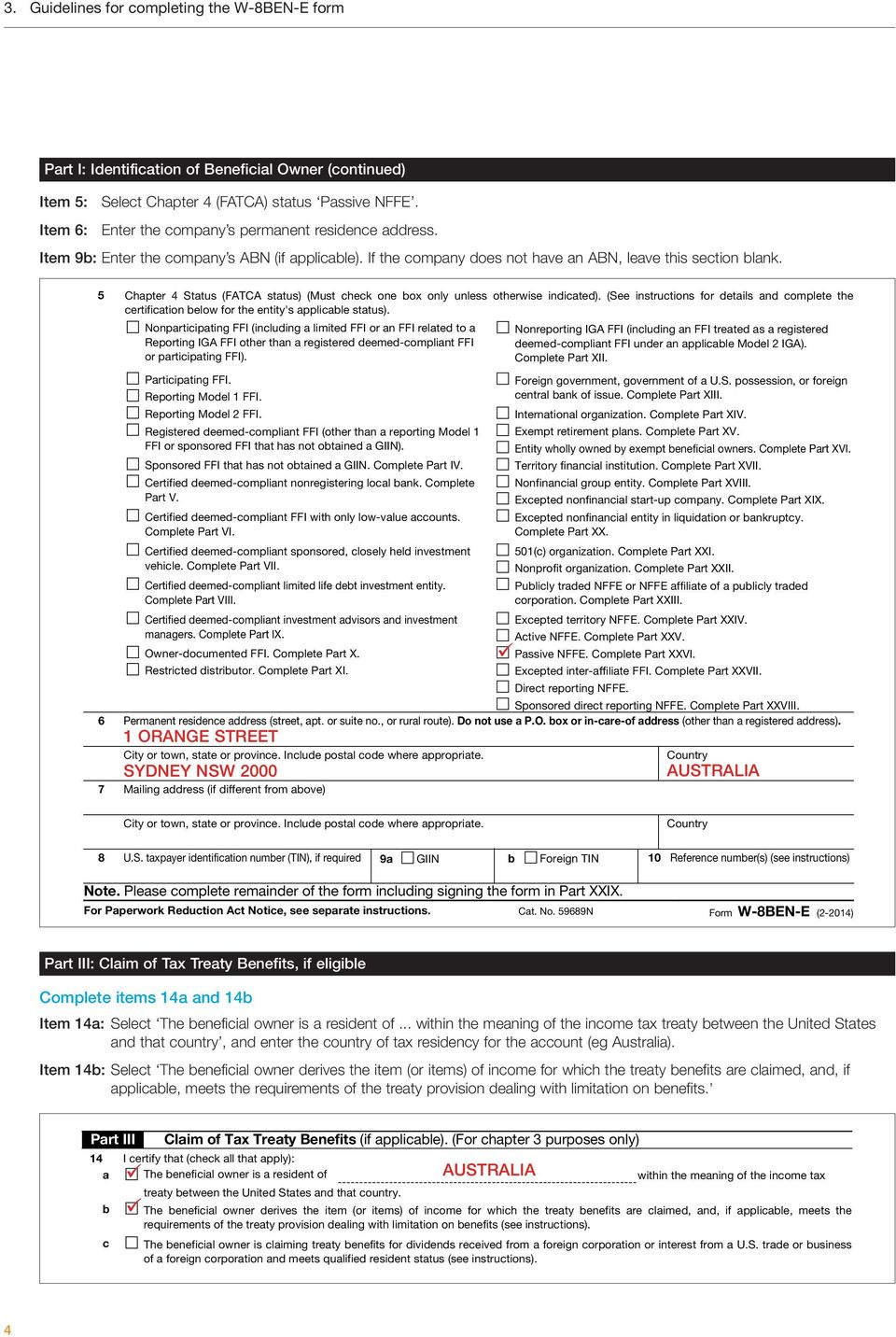 Guide to completing W-8BEN-E entity US tax forms - PDF