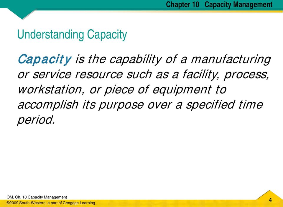 CHAPTER 10 CAPACITY MANAGEMENT DAVID A COLLIER AND JAMES R