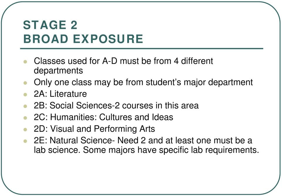 this area 2C: Humanities: Cultures and Ideas 2D: Visual and Performing Arts 2E: Natural