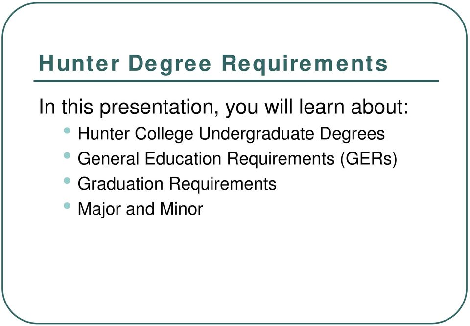 College Undergraduate Degrees General