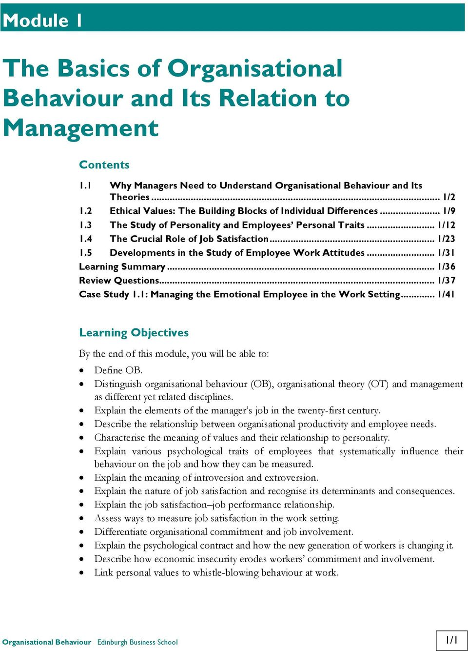 opportunities of organisational behaviour