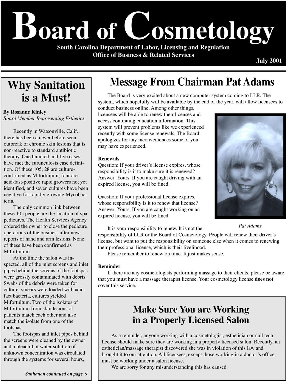 board of cosmetology. message from chairman pat adams. why