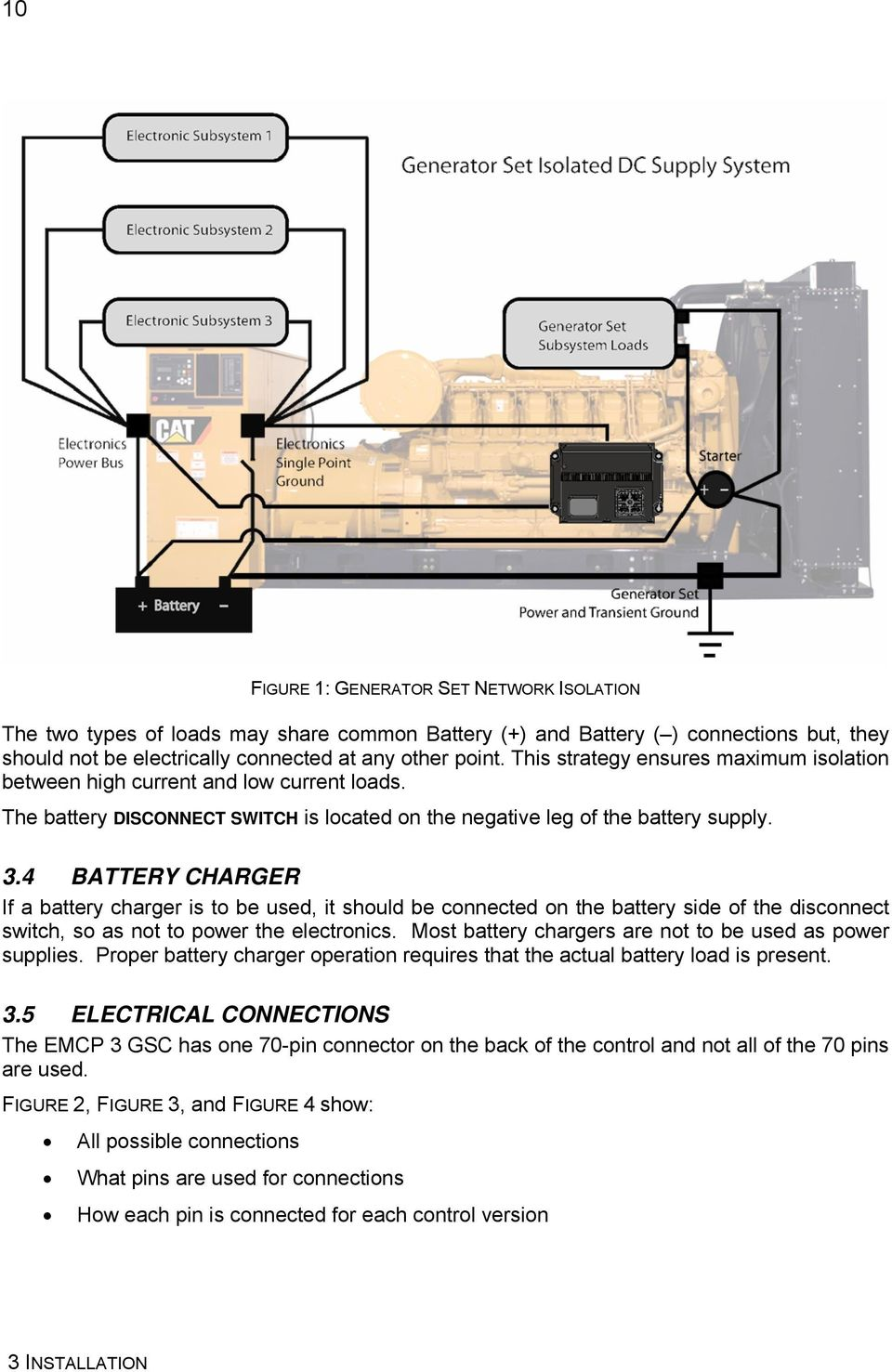 Emcp 31 32 33 Generator Set Control Pdf 543 Cat Engine Diagram 4 Battery Charger If A Is To Be Used It Should Connected