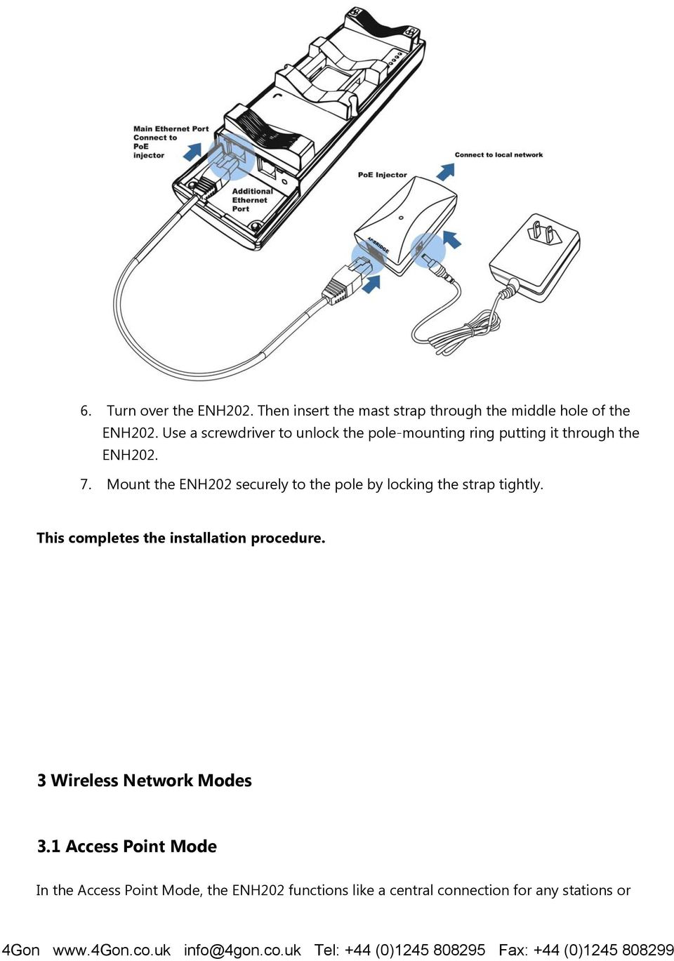 Wireless Access Point Client Bridge Pdf Diagram Besides Router Hook Up As Well Poe Ether Mount The Enh202 Securely To Pole By Locking Strap Tightly