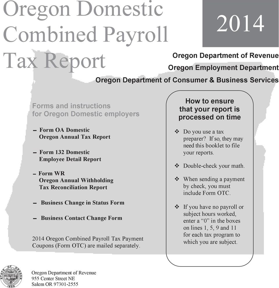 Oregon Domestic Combined Payroll Tax Report Pdf