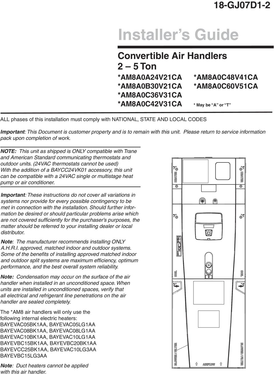 Installer S Guide 18 Gj07d1 2 Convertible Air Handlers 5 Ton Kit15815 Trane Xv80 Stagevariable Speed Gas Furnace Installation Must Comply With National State And Local Codes