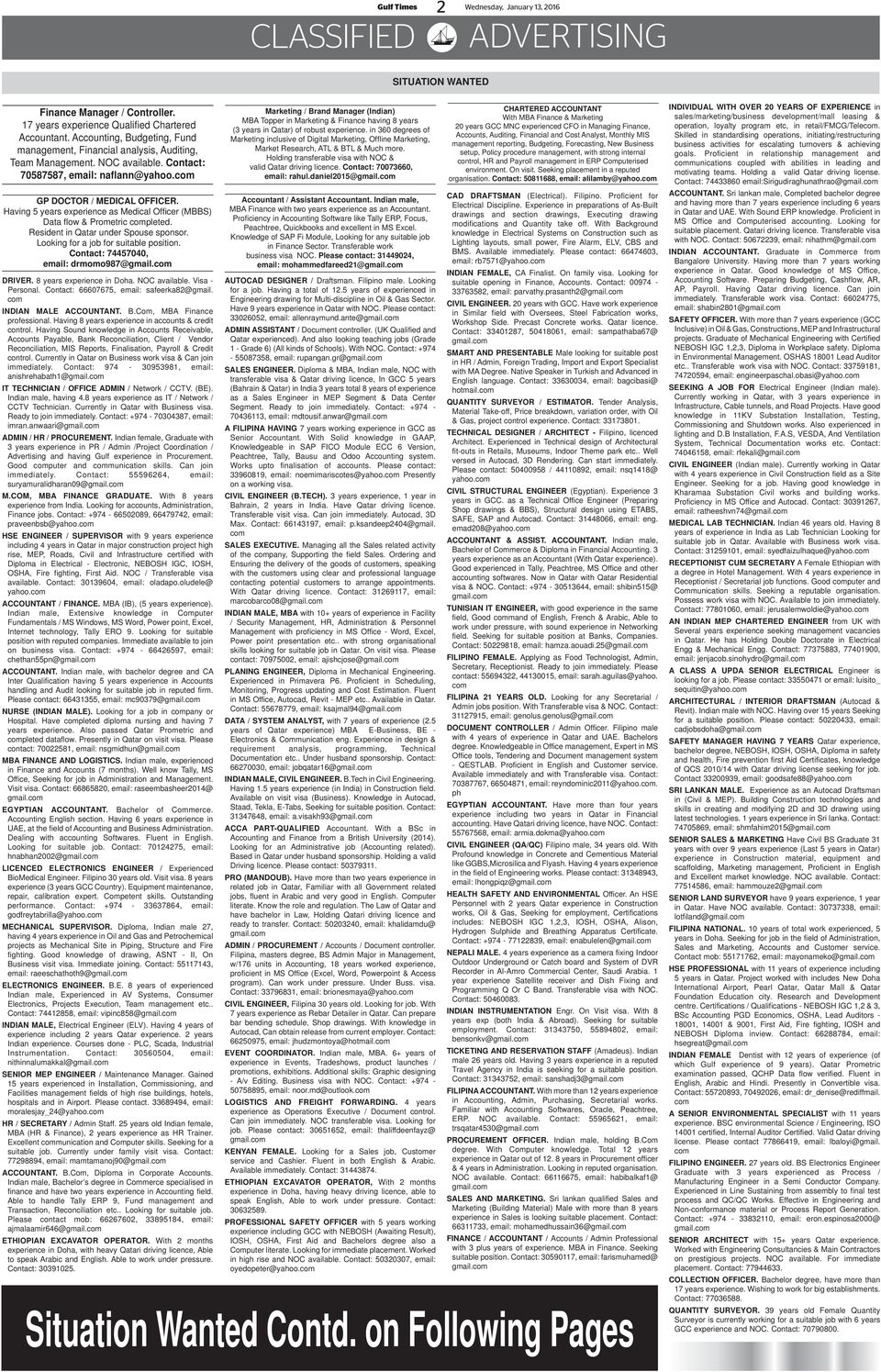 Gulf Times SITUATION VACANT REQUIRED - PDF