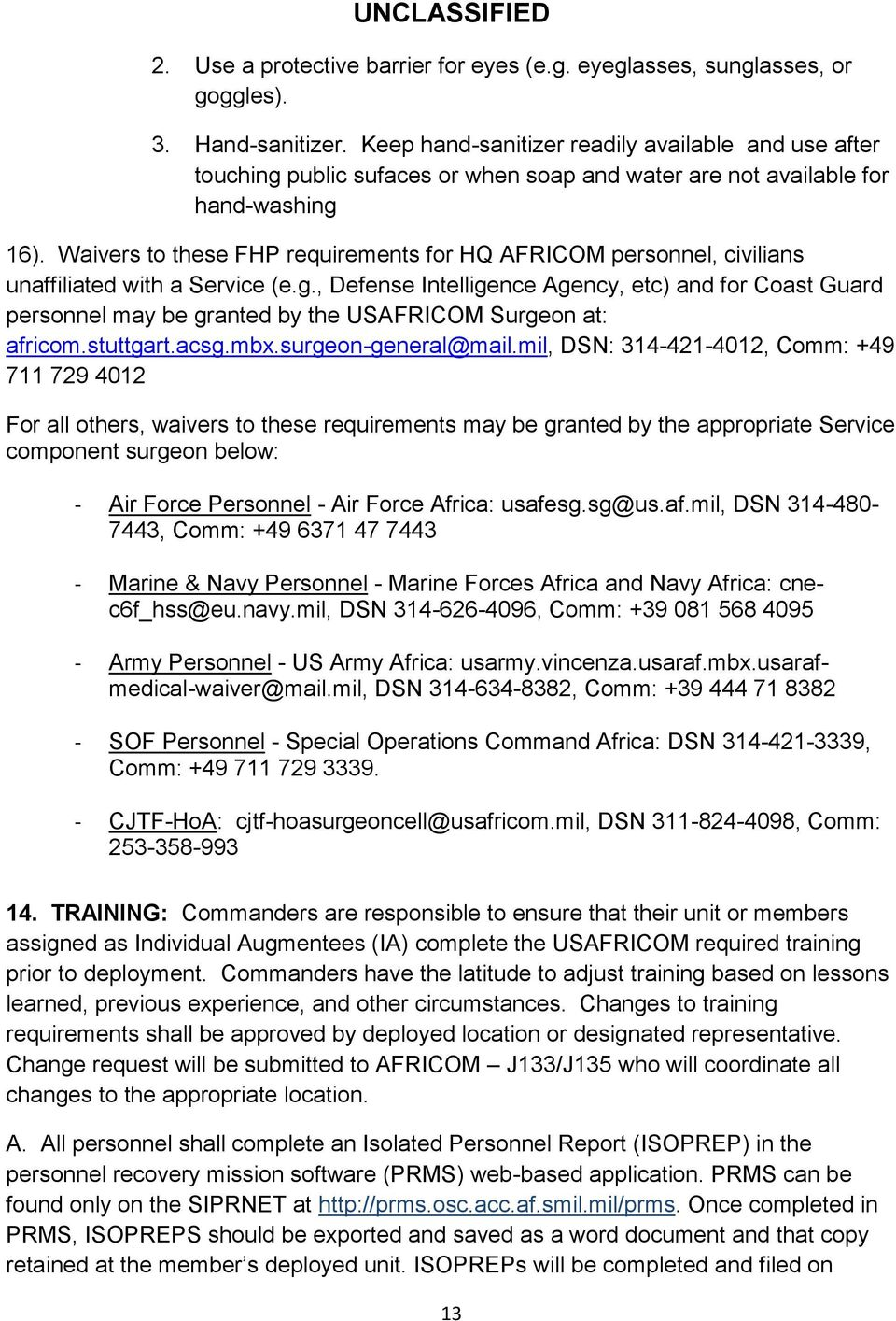 US Africa Command Reporting Instructions PLEASE REVIEW THE ENTIRE
