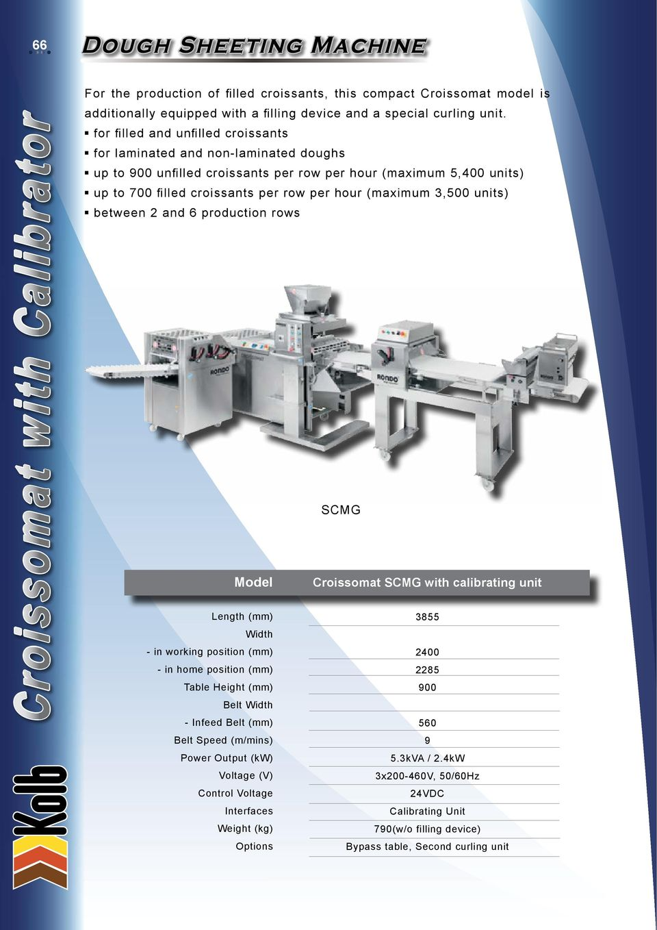 3500 Units Between 2 And 6 Production Rows SCMG Croissomat With Calibrating Unit Length