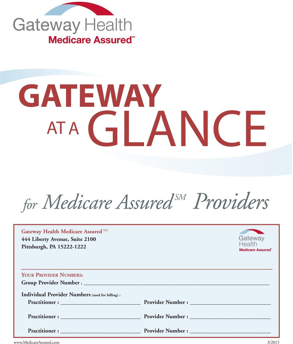 Glance Gateway Providers At A For Medicare Assured Sm Gateway