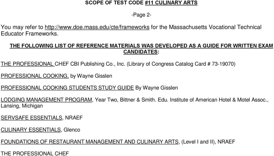 massachusetts vocational technical teacher testing program scope of rh docplayer net study guide to accompany professional cooking 8th edition answers study guide to accompany professional cooking for canadian chefs