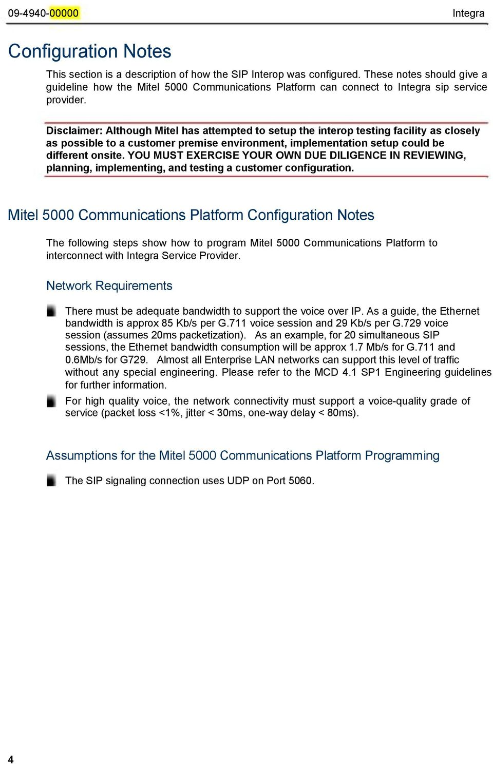 Mitel- SIP CoE  Technical  Configuration Notes  How to Guide to