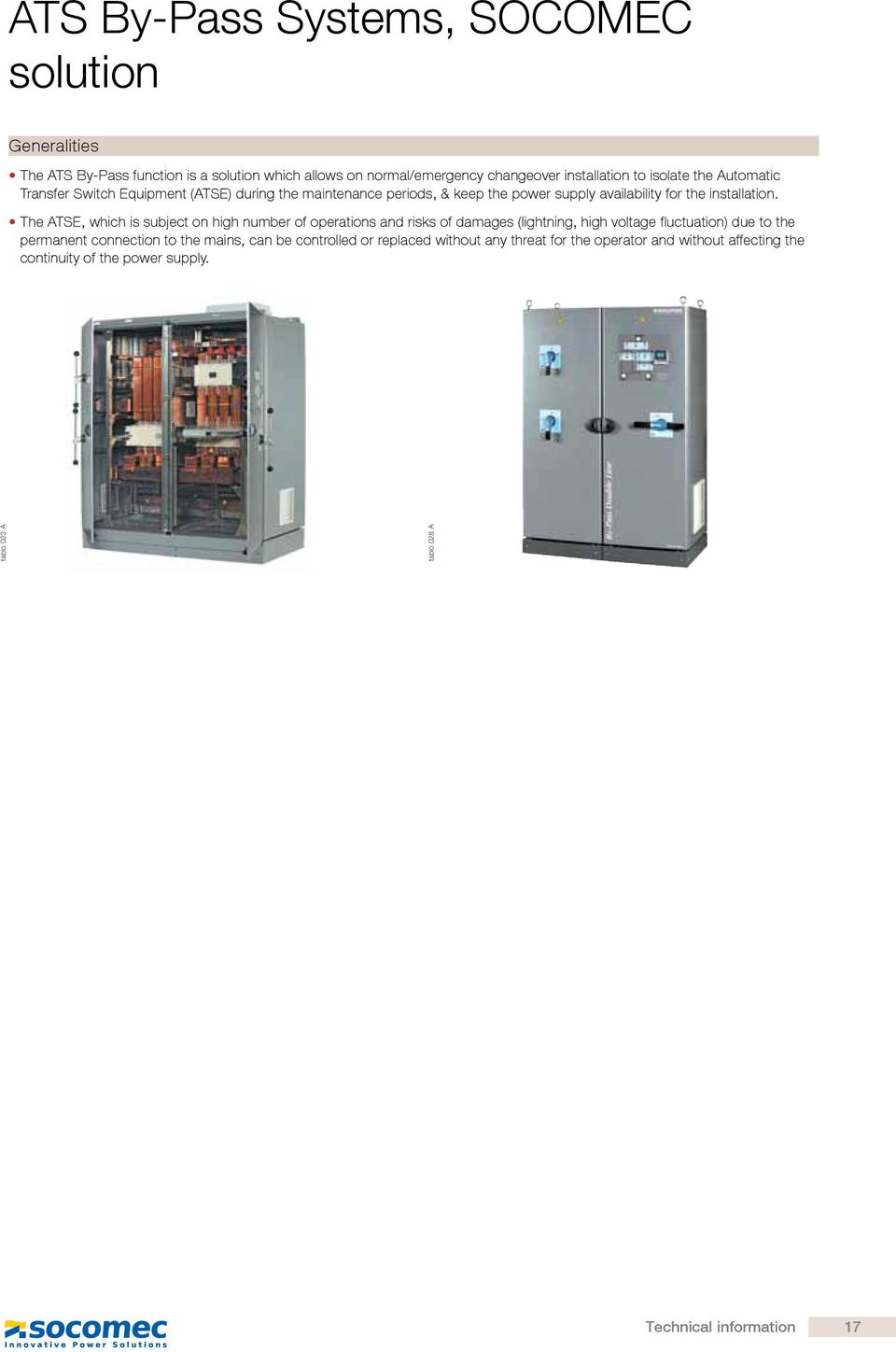 Technical Information Typical Automatic Transfer Switch Diagrams Pdf Socomec Ats Wiring Diagram The E Which Is Subject On High Number Of Operations And Risks Damages