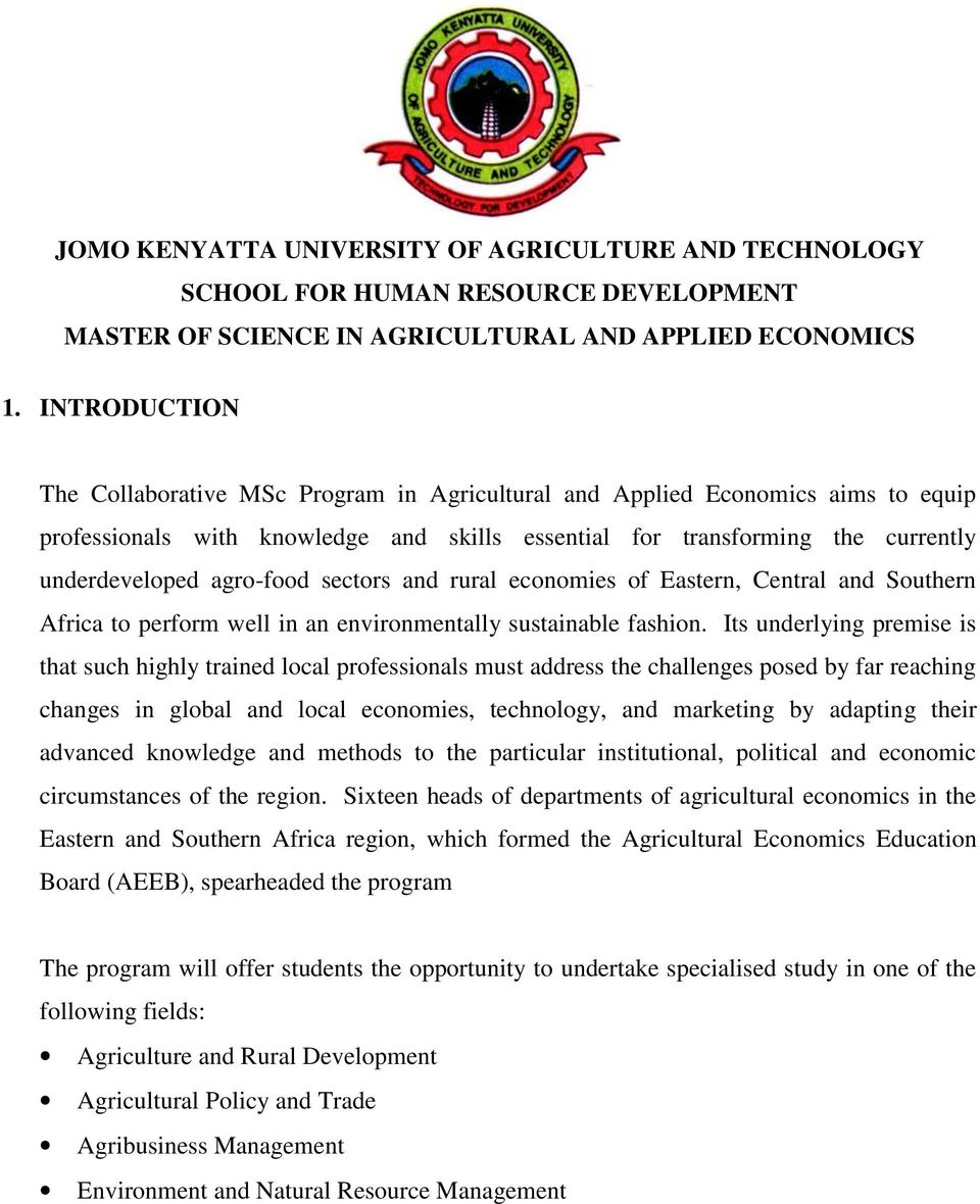 JOMO KENYATTA UNIVERSITY OF AGRICULTURE AND TECHNOLOGY SCHOOL FOR