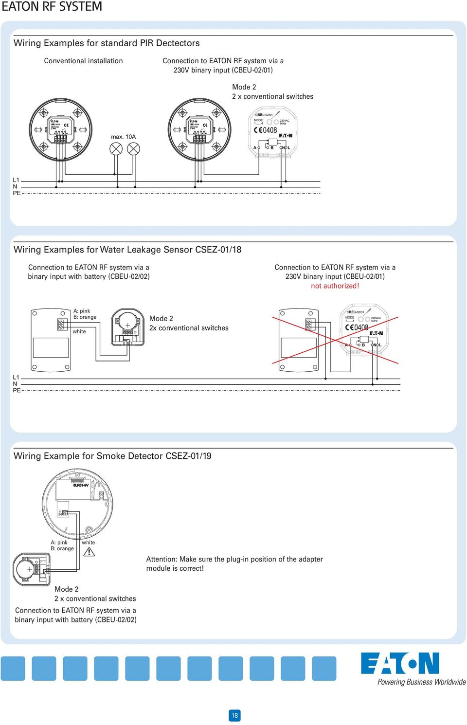 Technical Specifications Eaton Rf System Wiring Examples Page Xx Binary Switch Diagram Input Cbeu 02 01 Not Authorized