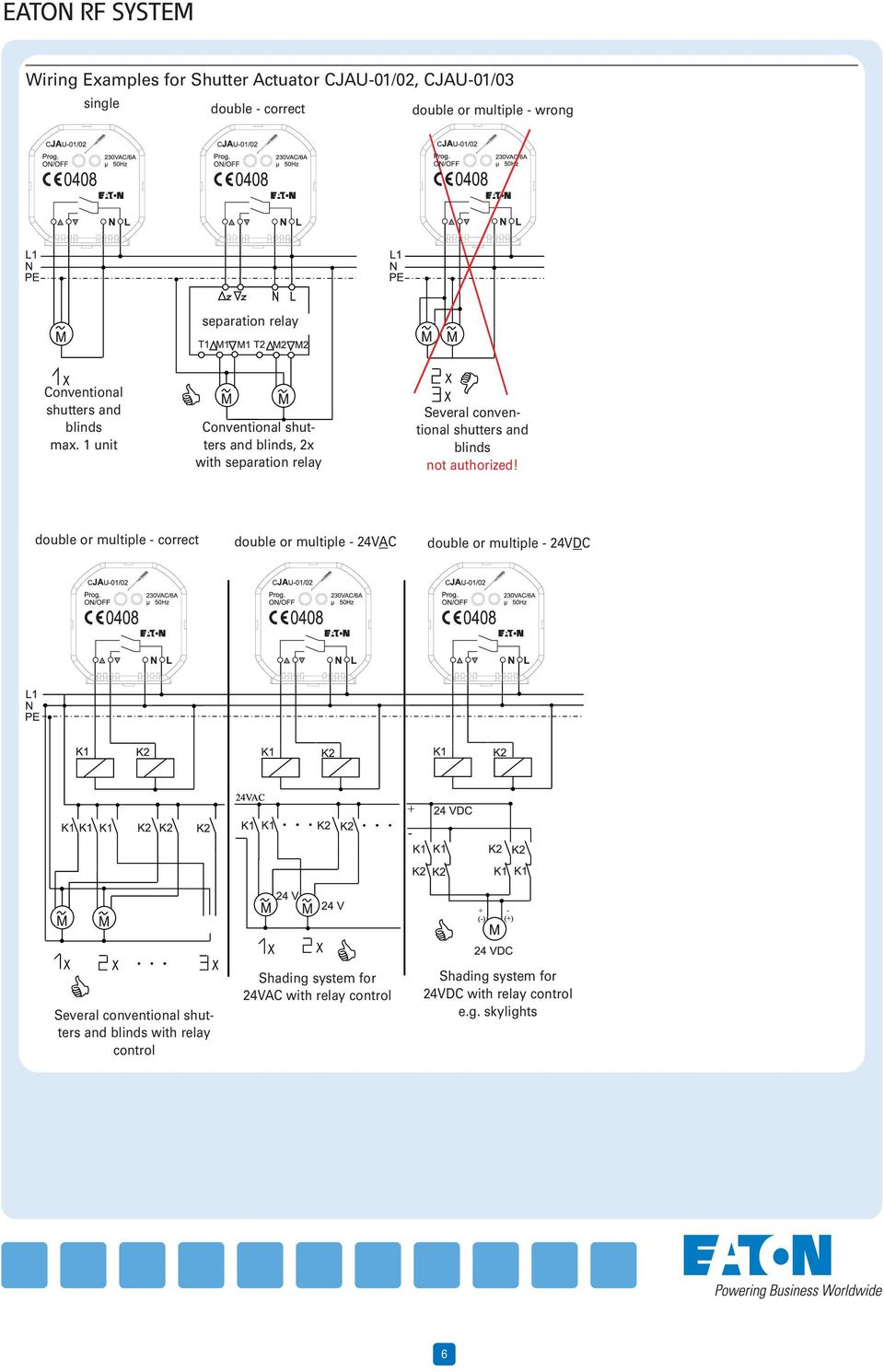 Technical Specifications Eaton Rf System Wiring Examples Page Xx Use A Relay Or Smart Switch With The 45 Watt Higher Halogen Lights 1 Unit Conventional Shutters And Blinds 2x Separation Several