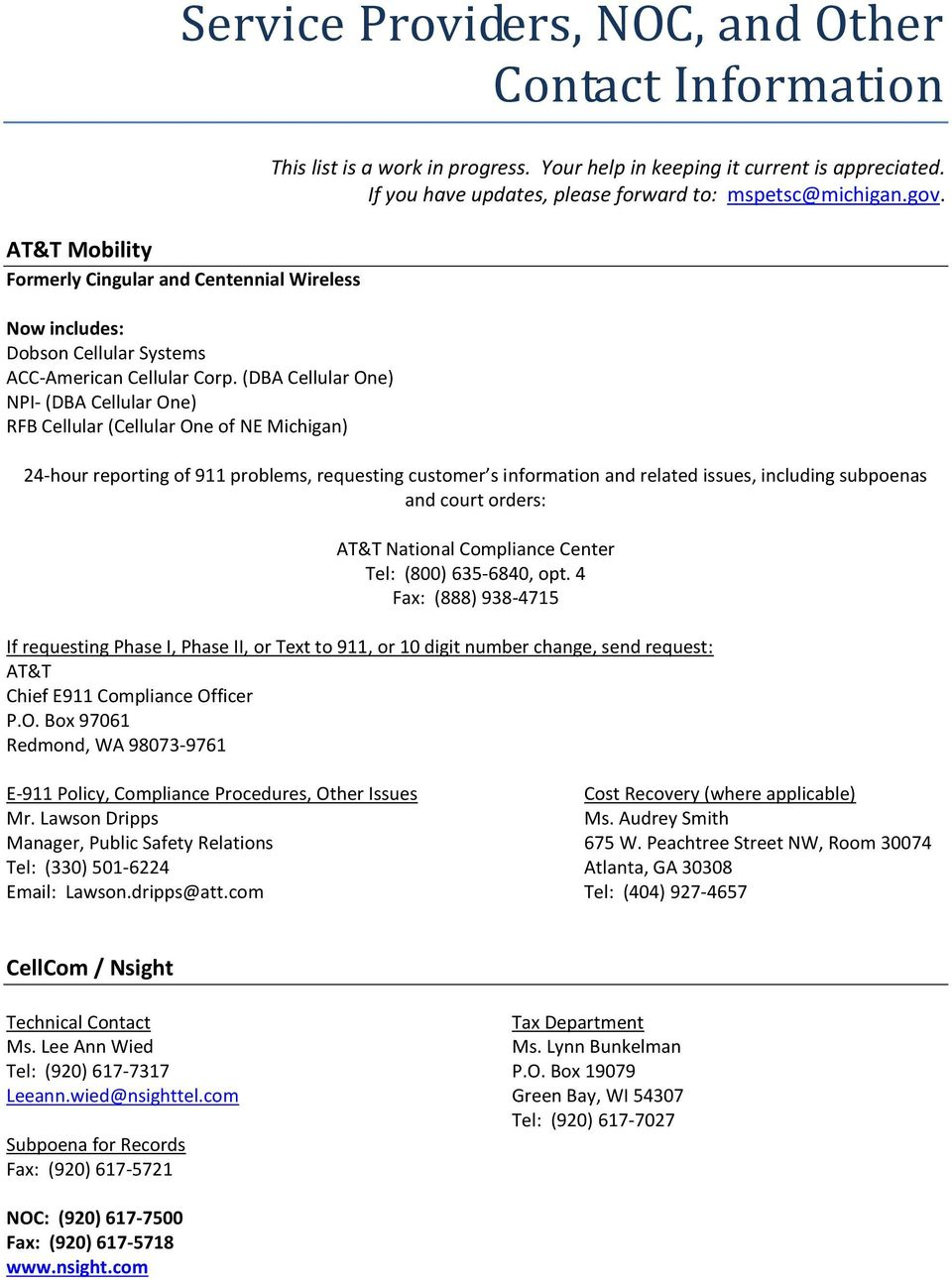 service providers, noc, and other contact information - pdf