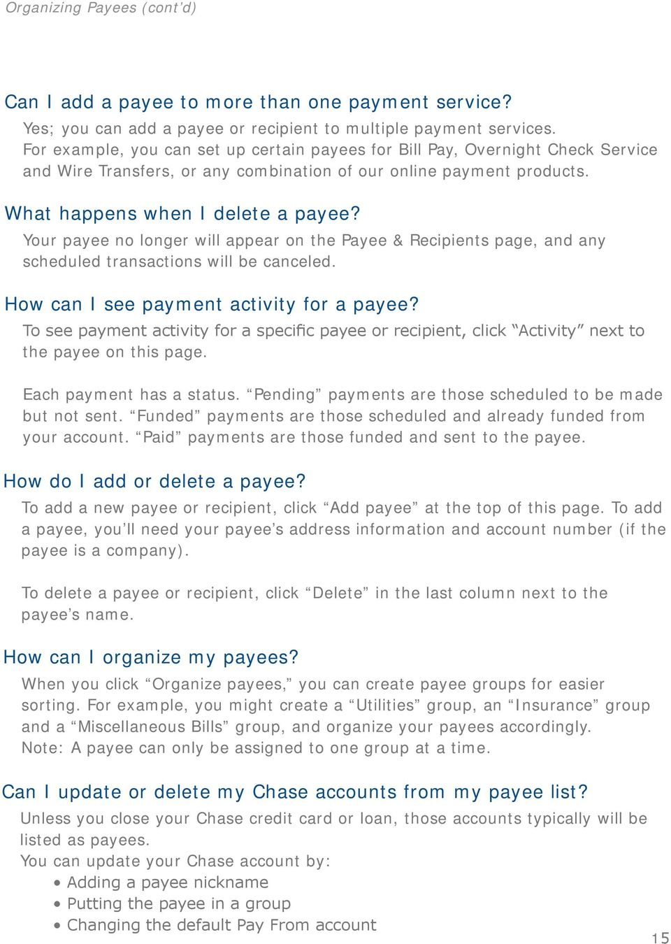 Chase QuickPay SM FAQs - PDF