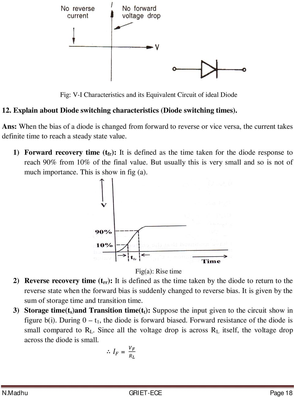 Basic Electrical And Electronics Engineering Pdf Filter Circuits Inductor Lc Clc Or Pi 1 Forward Recovery Time T Fr It Is Defined As The