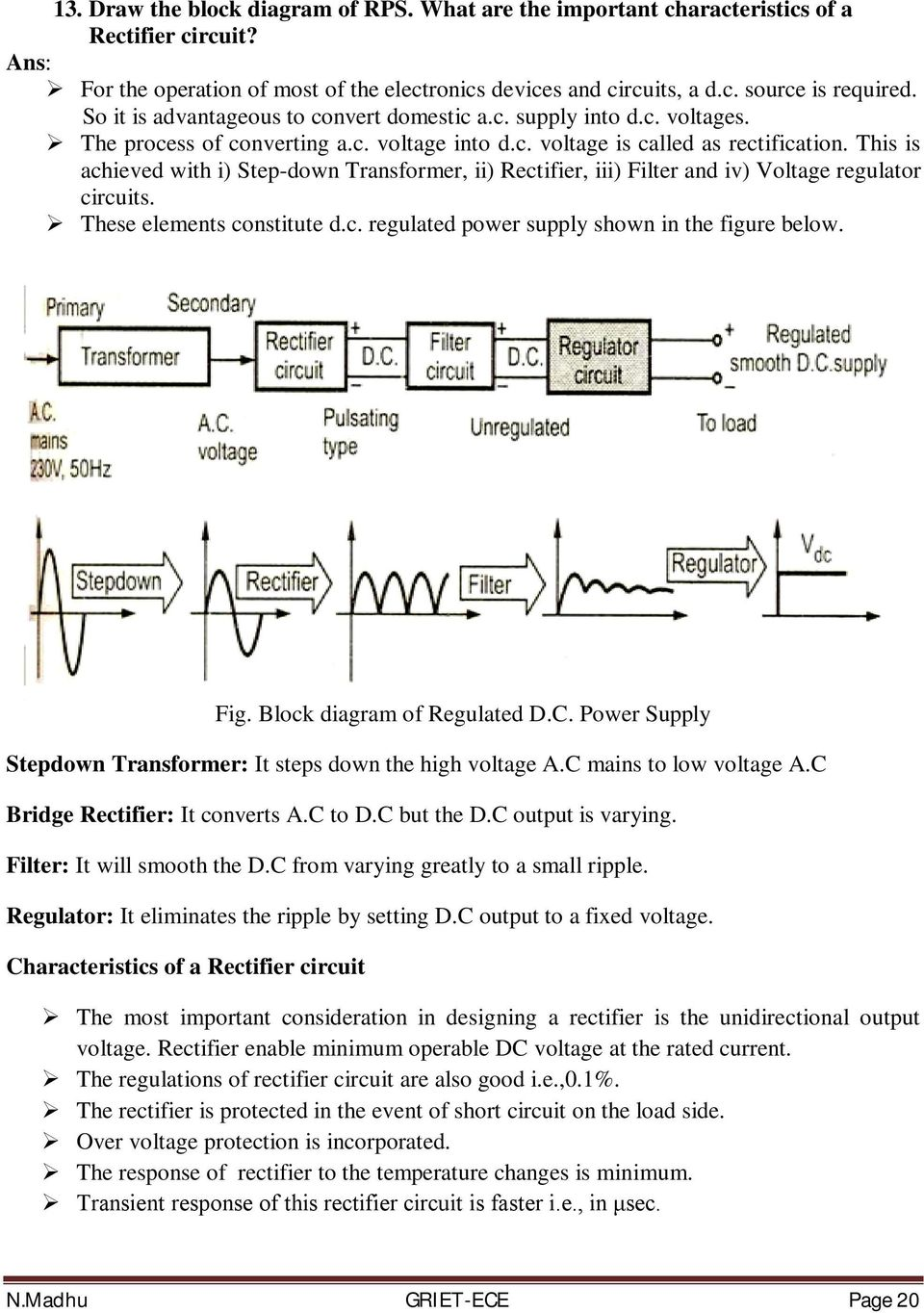Basic Electrical And Electronics Engineering Pdf Filter Circuits Inductor Lc Clc Or Pi This Is Achieved With I Step Down Transformer Ii Rectifier Iii
