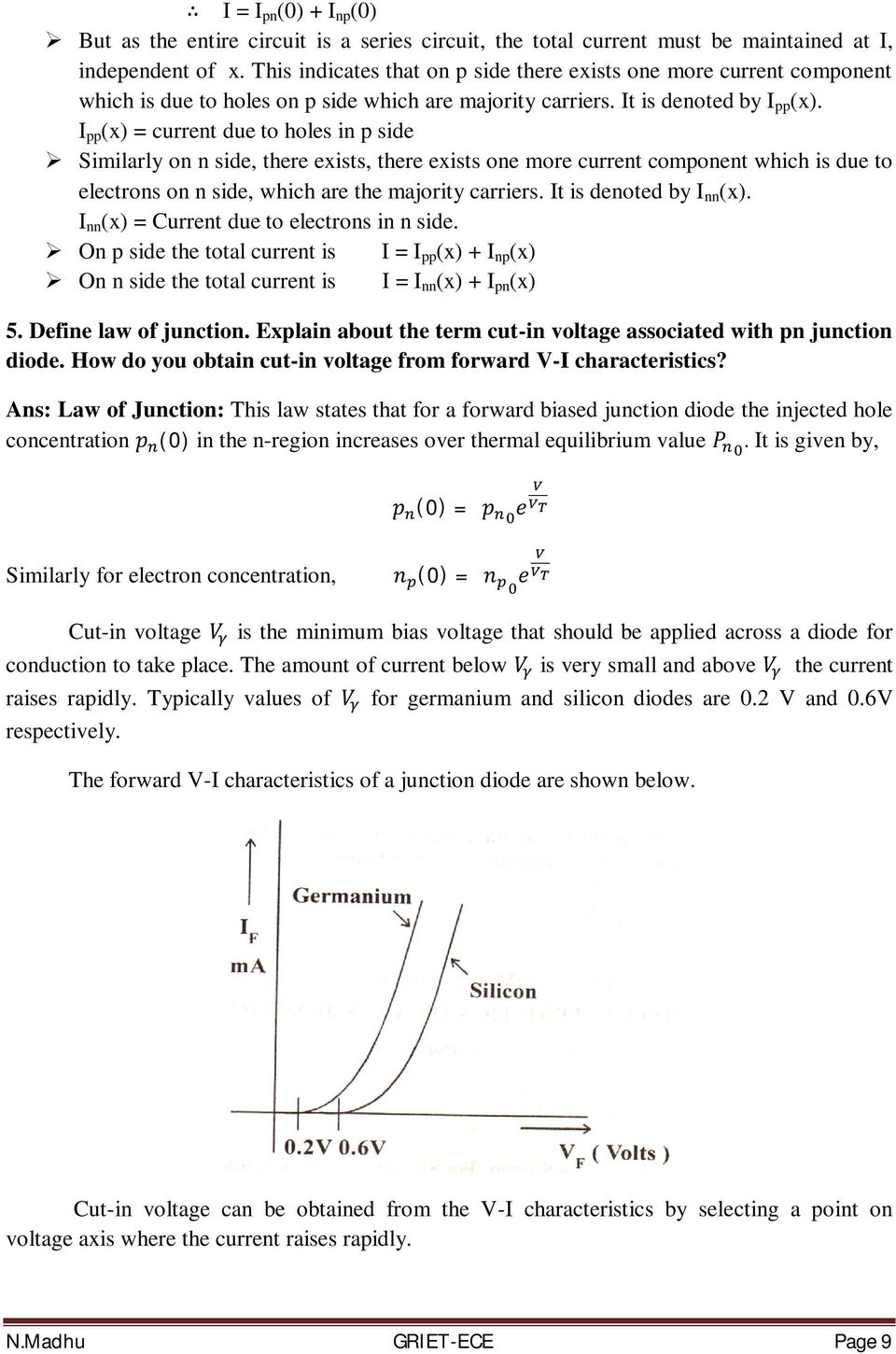 Basic Electrical And Electronics Engineering Pdf Pn Junction Diode Its Characteristics I Pp X Current Due To Holes In P Side Similarly On N 6 Explain The Volt Ampere Of