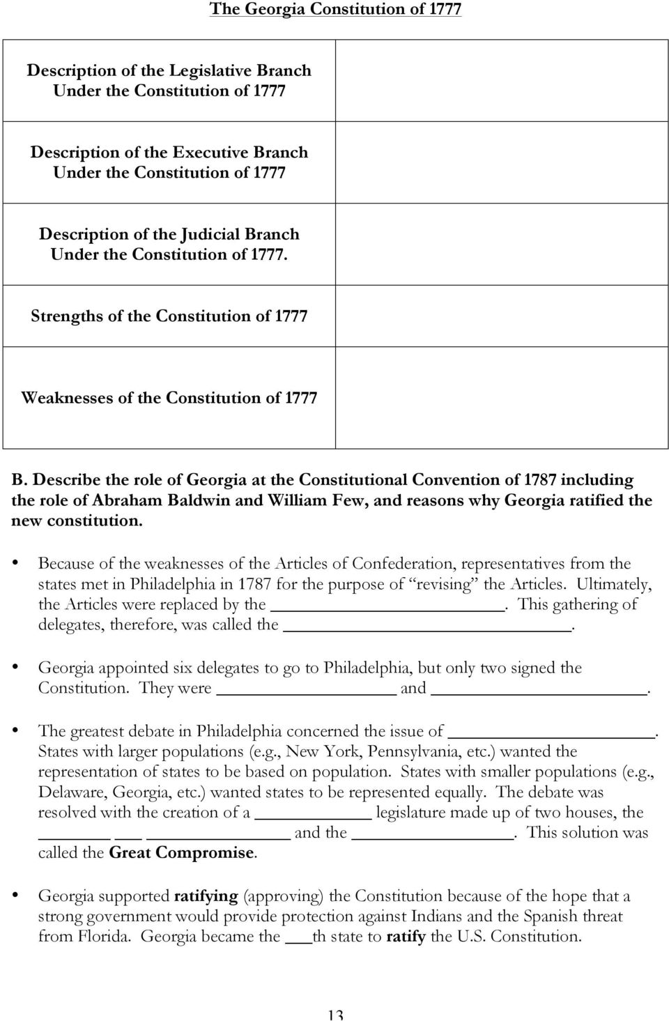Describe the role of Georgia at the Constitutional Convention of 1787  including the role of Abraham