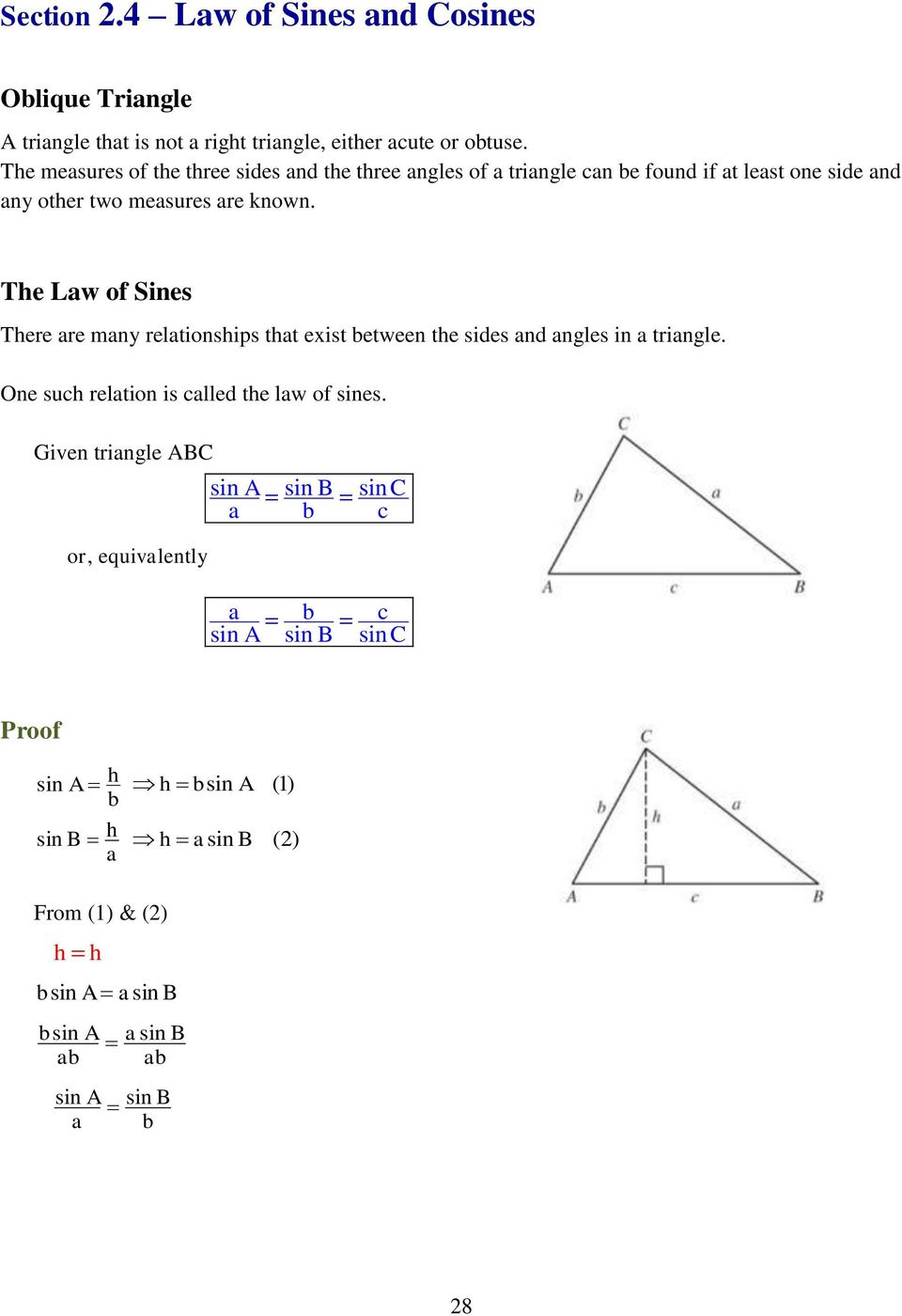 problem solving the law of sines and the law of cosines page 97