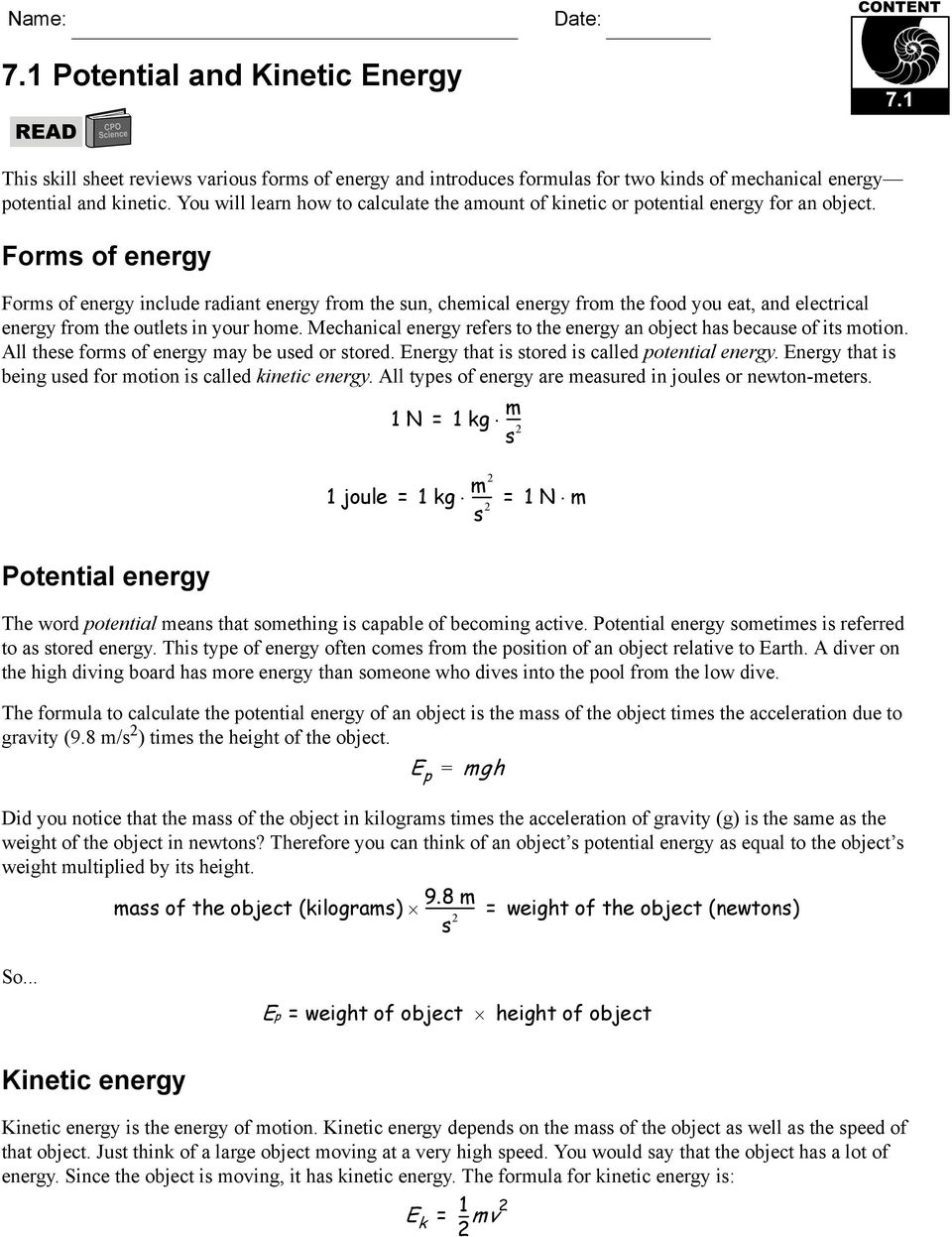 7.1 Potential and Kinetic Energy - PDF