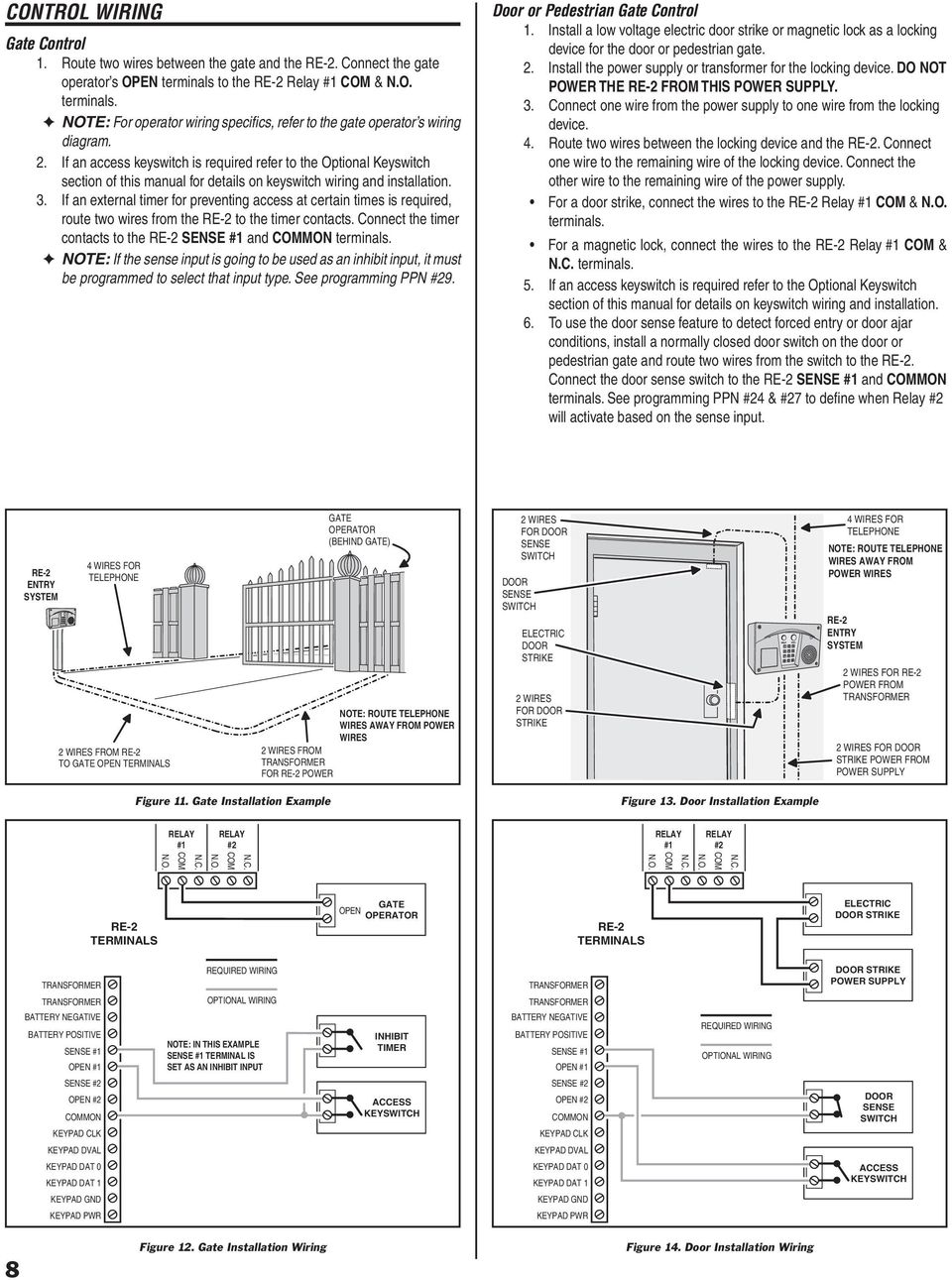 Re 2 Residential Telephone Entry System Installation Programming Wiring Diagrams Wire Setup Contacts Open Unidirectional Pulse If An External Timer For Preventing Access At Certain Times Is Required Route Two Wires