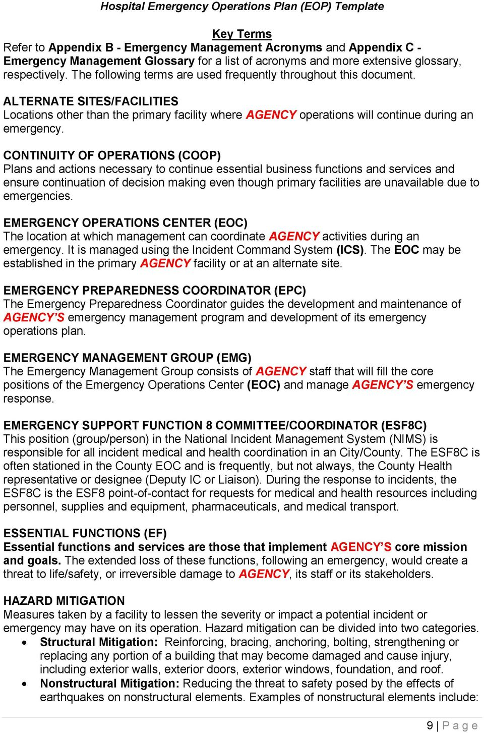 Agency Name> Hospital Emergency Operations Plan (EOP) TEMPLATE - PDF