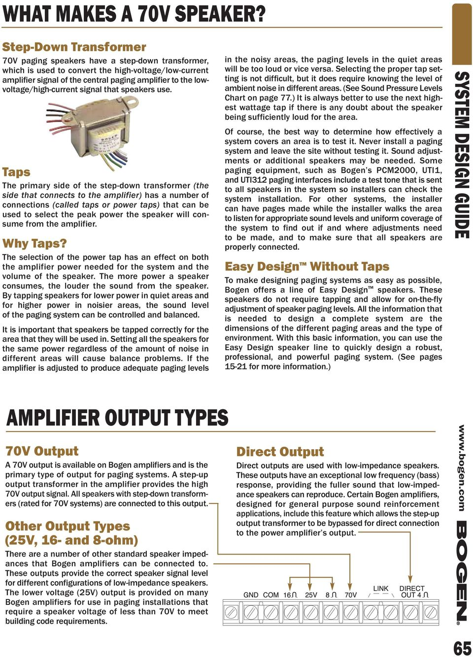 Bogen 70v Speaker Wiring Diagram System Design Guide Pdf Lowvoltage High Current Signal That Speakers Use